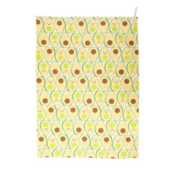 tea towel with repeat sass and belle avocado pattern