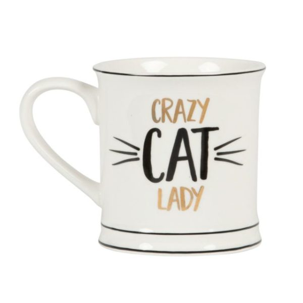 white mug with black and gold crazy cat lady slogan by sass and belle