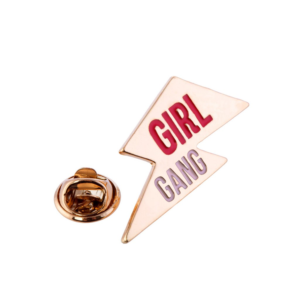 gold lightning bolt pin badge with girl gang slogan from sass and belle