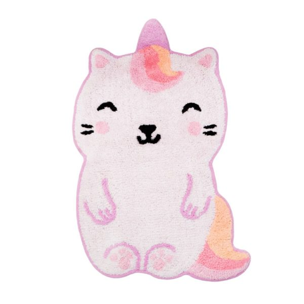 small pink caticorn rug with cat face and unicorn horn by sass and belle