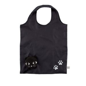 foldable shopping bag with black cats face from sass and belle