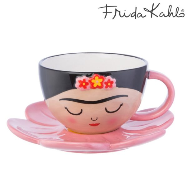 cup with frida kahlo face and matching pink flower saucer from sass and belle