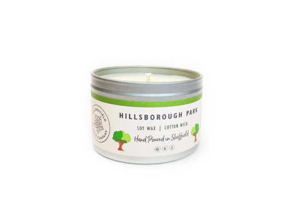 Hillsborough park sheffield soy wax candle in a tin
