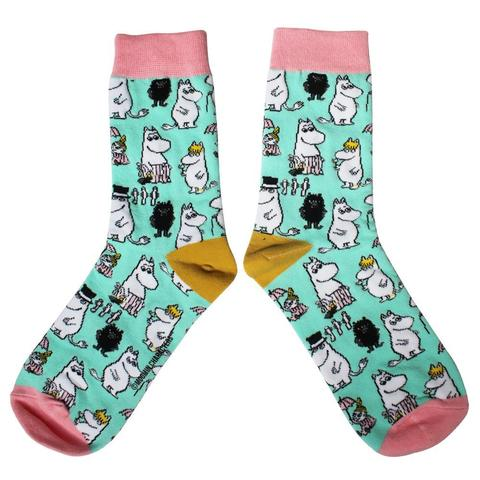 turquoise socks with all over moomin print in a gift box