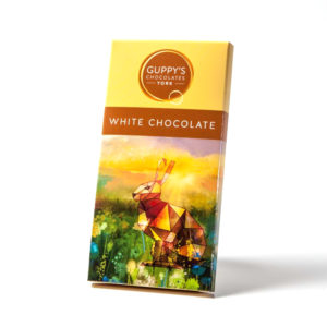 bar of handmade white chocolate from guppys in yorkshire