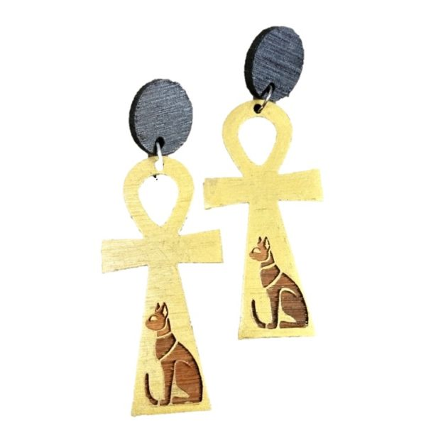 eco friendly bamboo ankh cross earrings with cats