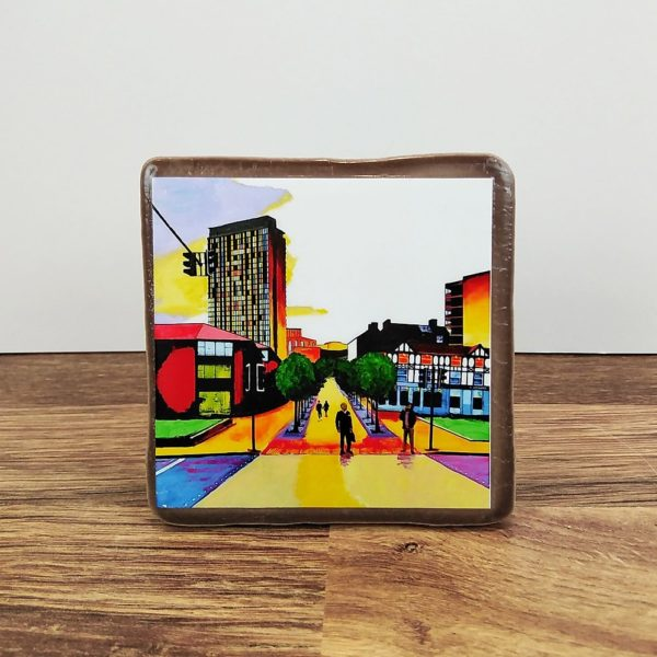 coaster with sheffield artwork by a local artist