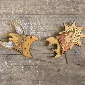eco friendly bamboo brooch set of skoll and hati norse mythology wolves