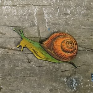 brown and green eco friendly bamboo snail brooch
