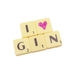 cream game letter tile magnet with i heart gin