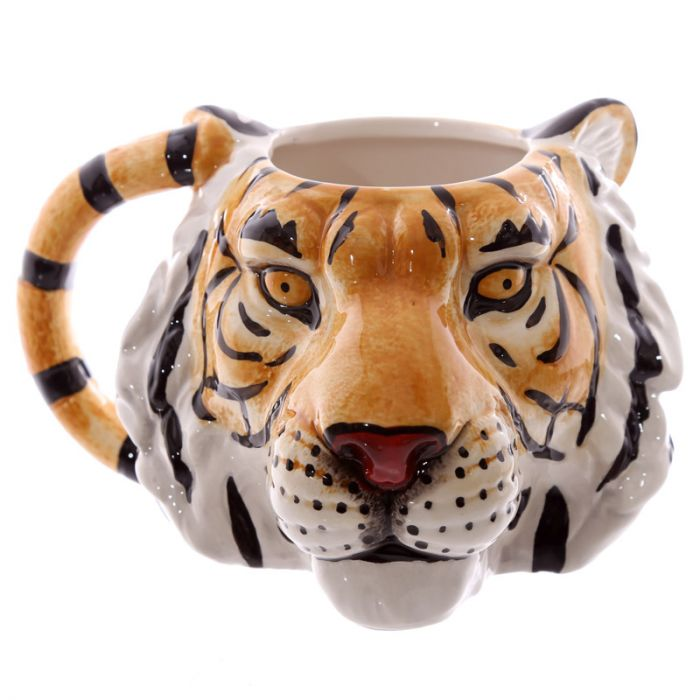 Orange and black 3D tiger head mug