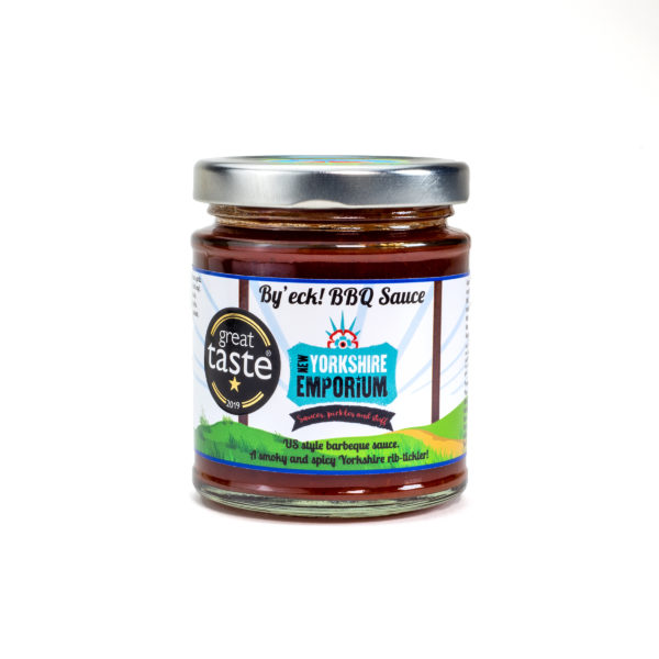 jar of spicy barbeque sauce made in Yorkshire