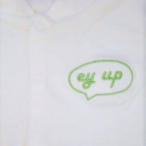 white long sleeved baby grow with green ey up sheffield badge