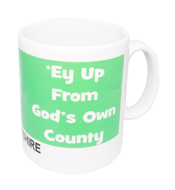 ey up from god's own county yorkshire mug in green