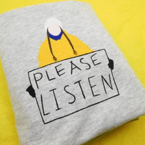 grey tshirt with greta thunburg handpainted please listen design