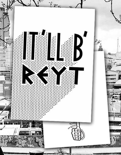 black and white postcard with sheffield it'll b'reyt slogan