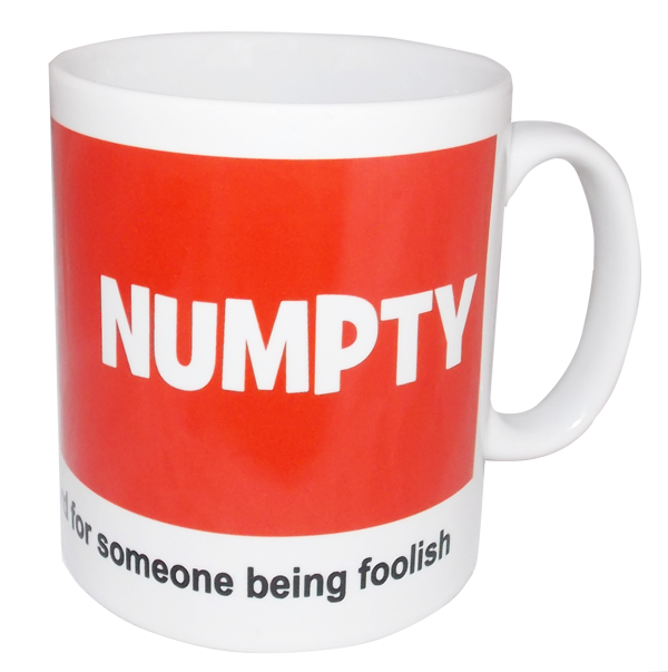Sheffield speak numpty mug in red