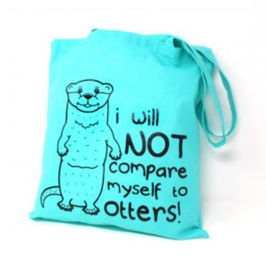 green cotton tote bag with otter design
