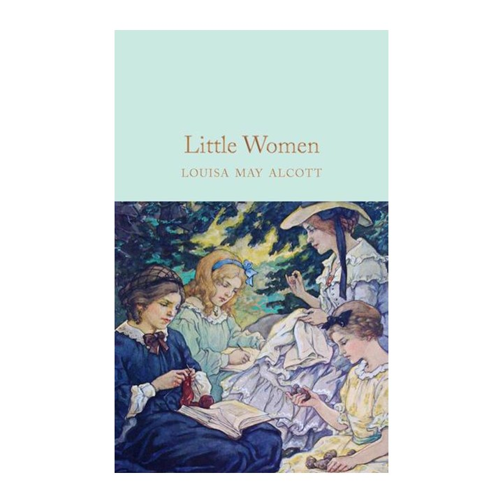 travel sized edition of little women with blue cover and gilded pages