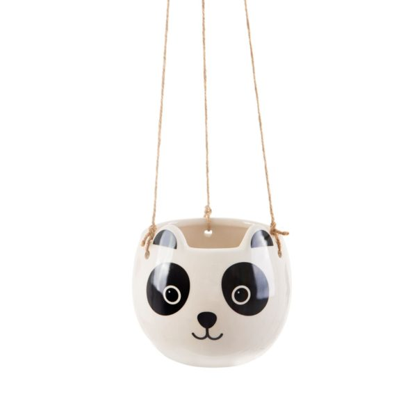 black and white hanging ceramic panda plant pot
