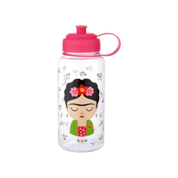 plastic water bottle with illustrated frida kahlo and floral images