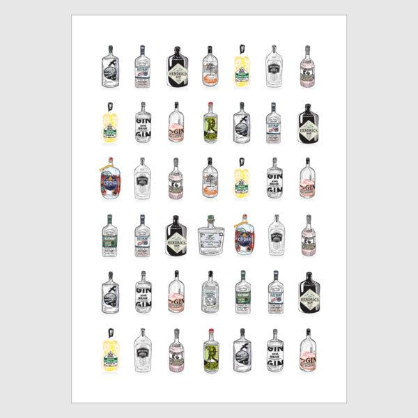 Gin Bottles Print