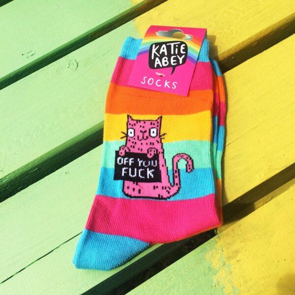 sweary cat socks by katie abey