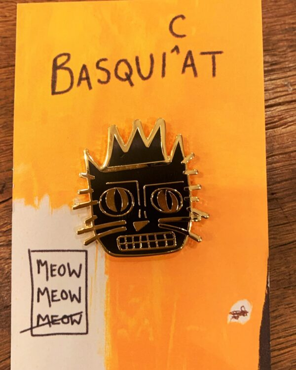 enamel pin basquiat cat artist badge