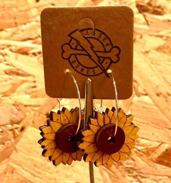 sustainable wood yellow hoop earrings