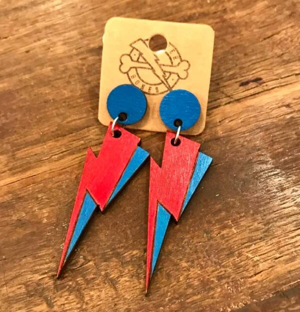 blue red handmade lightning sustainable wood earrings