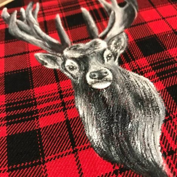 red tartan embroidery hoop stag picture