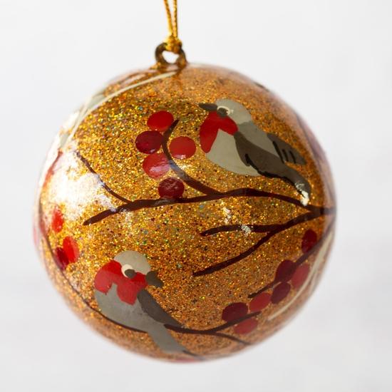 Gold glitter bird christmas bauble