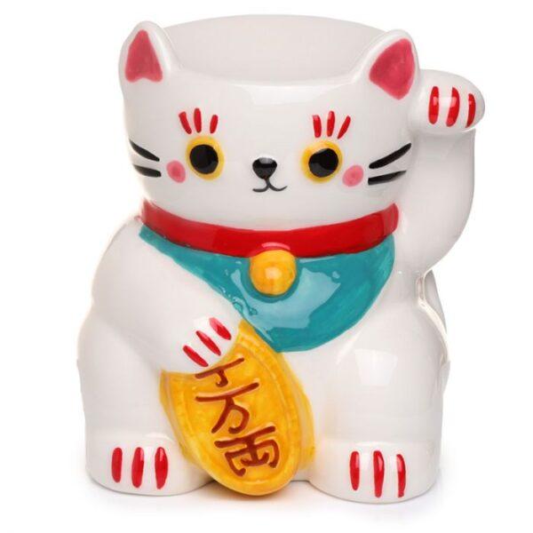 white lucky cat oil burner