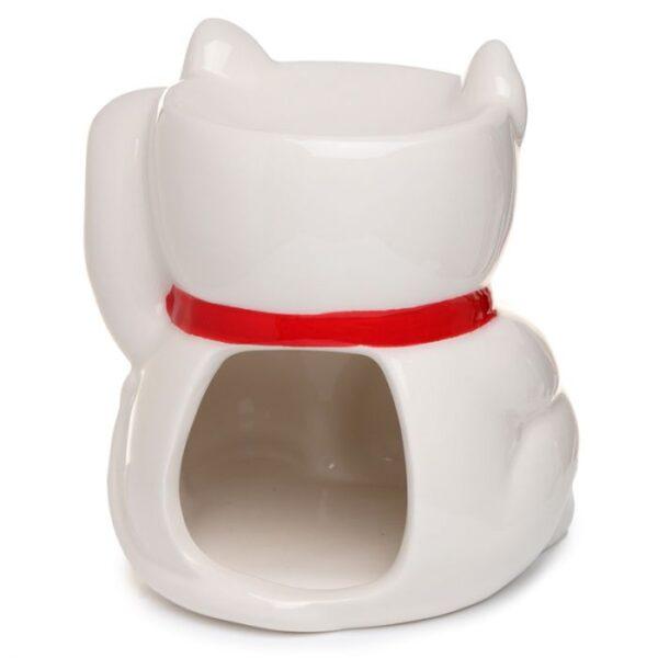 white maneki neko lucky cat fragrance oil burner