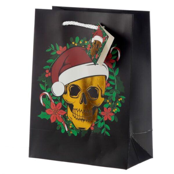 medium Christmas gift bag Santa skull