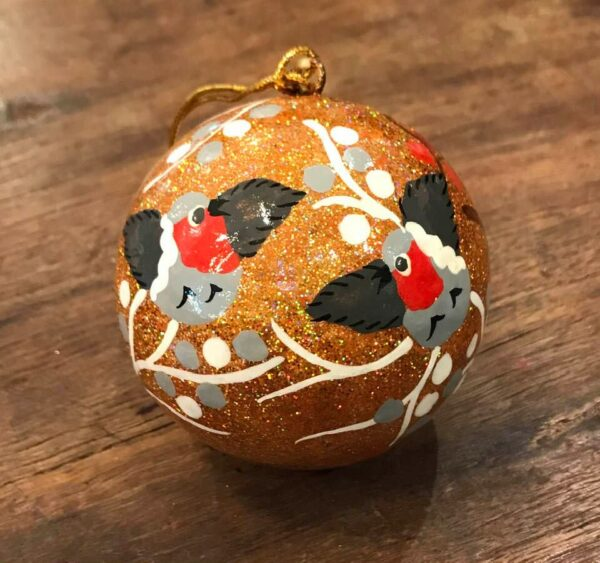 hand painted christmas bauble gold with birds